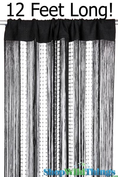 CLEARANCE! String & Sparkling Bead Mix Curtain - Black & Silver - 3ft x 12ft