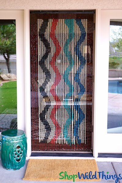 "Wooden Bead Curtain - ""Primary Wave"" - 35"" x 6 1/2' - 60 Strands (Extra Coverage)"