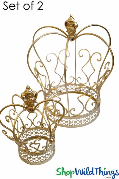 "COMING SOON! Crown Centerpiece Decoration - Set of 2 Gold - 12 3/4"" & 8 3/4"""