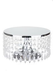 "Beaded Real Crystal Cake Stand & Centerpiece Riser -  ""Prestige"" -  10"" Silver"