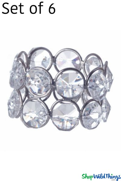 "COMING SOON! Real Crystal Beaded Napkin Ring Set of 6 - ""Prestige"" - Silver - Double Ring"