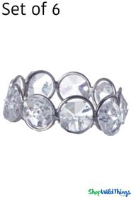 "Real Crystal Beaded Napkin Ring Set of 6 - ""Prestige"" - Silver - Single Ring"