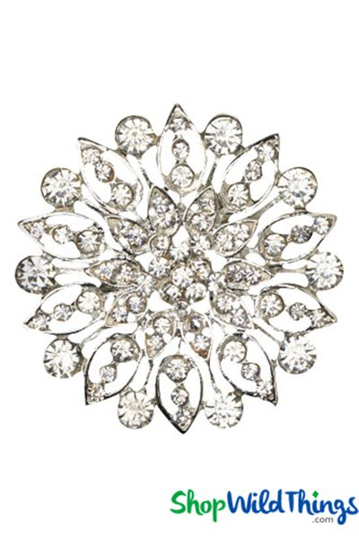 "Brooch Favor Decor ""Heidi"" - 2"" Rhinestone Starburst - Silver"