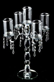 "Crystal Candelabra 5 Cylinder Table Chandelier - 19 1/2"" Tall- BUY MORE, SAVE MORE!"