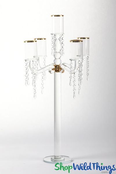 """Real Crystal 5 Cup Candelabra """"Bavaria Gold"""" - 30"""" Tall"""