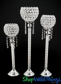 "Beaded Real Crystals Candle Holders - ""Prestige"" Etched Silver Stem Set of 3"