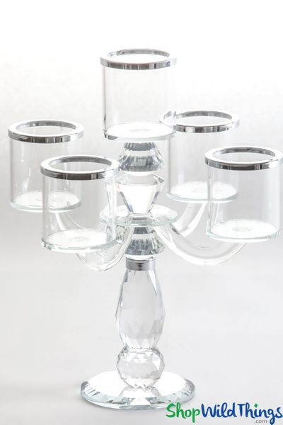 """Real Crystal 5 Cup Candelabra """"Bette Silver"""" - 11 1/2"""" Tall"""