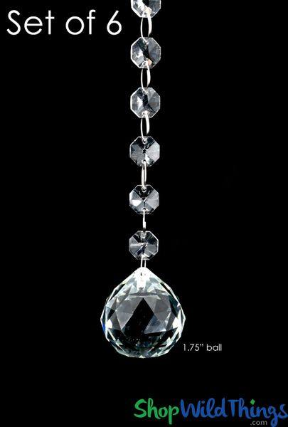 """COMING SOON! Crystal Hanging Prism, Glass - Crystal Strand 20"""" - """"Prati"""" Set of 6 - Clear"""