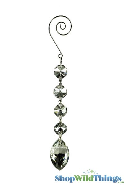 "Crystal Hanging Prism, Glass - Crystal Strand 6.5"" - ""Elizabeth"" Set of 12 - Silver"
