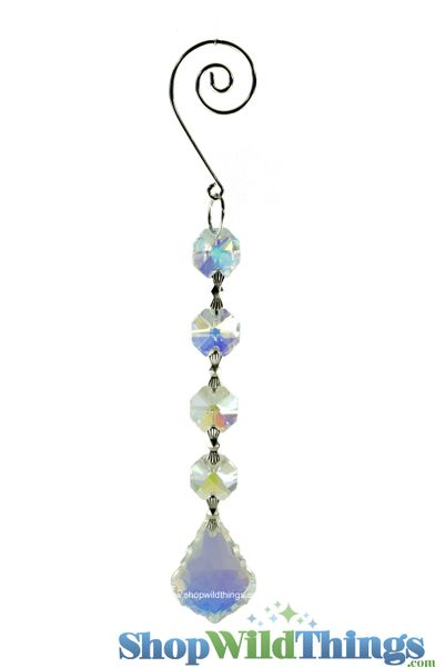 """Crystal Hanging Prism, Glass - Crystal Strand 6.5"""" - """"Fallyn"""" Set of 12 - Iridescent"""