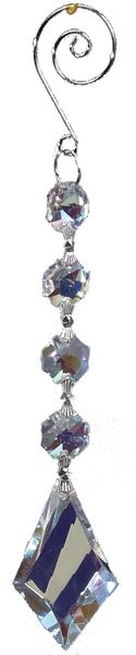 "Crystal Hanging Prism, Glass -Crystal Strand 7"" - ""Fiona"" Set of 12 - Iridescent"