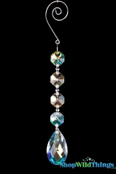 "Crystal Hanging Prism, Glass -  Crystal Strand 6.5"" - ""Kiera"" Set of 12 - Iridescent"