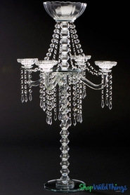 "Crystal Tabletop Candle Chandelier ""Bella Luna"" w/Floral Bowl 31 1/2"" - 2 Tiers"