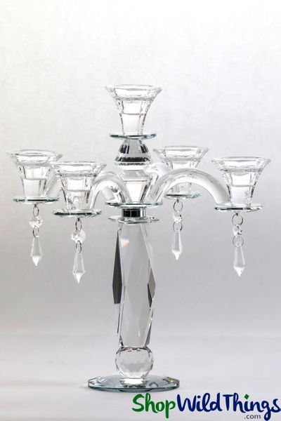 "Real Crystal 5 Cup Candelabra ""Barrie"" - 12"" Tall"