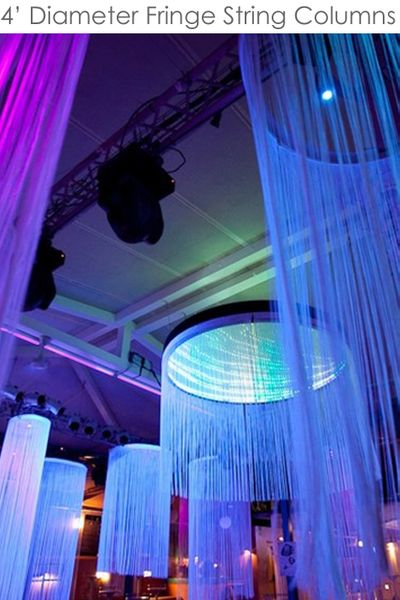 Custom String Curtain Columns - 4 Foot Diameter / 6' to 20' Long - Choose Color, Length, Fire Treatment