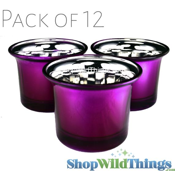 "CLEARANCE! Mercury Glass ""Frosted Metallics"" Fuchsia - Set of 12 Candle Holders"