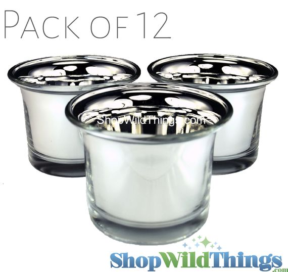 """SALE ! Mercury Glass """"Frosted Metallics"""" Silver - Set of 12 Candle Holders"""