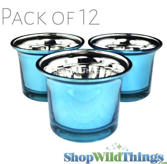 "CLEARANCE! Mercury Glass ""Frosted Metallics"" Turquoise - Set of 12 Candle Holders"