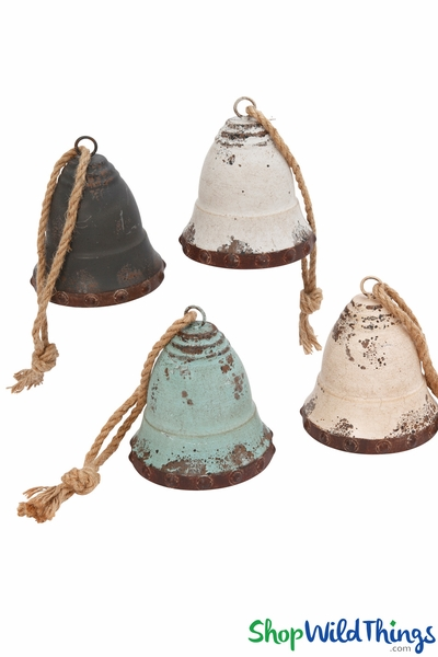 "SALE ! Metal Vintage Hanging Bells Huge 8"" x 7""- Set of 4"