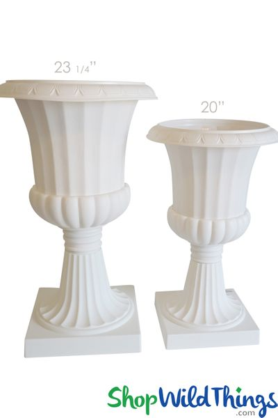 "Decorative Planter & Urn - White 23 1/4"" Tall"