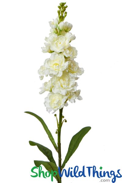 """Delphinium Spray - Bendable Silk Flower Bloom - Ivory 32"""" - BUY MORE, SAVE MORE!"""