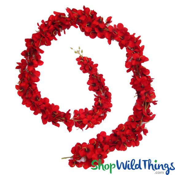 Deluxe Hydrangea Flower Garland - Red - 5'