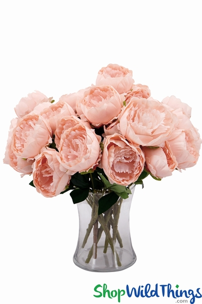 "Deluxe Silk Peony Bouquet - Blush Pink Spray - 19"" Tall, 5 Heads"