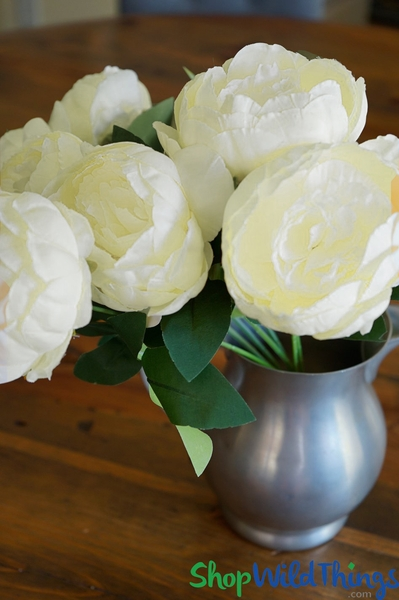 "COMING SOON! Deluxe Silk Peony Bouquet - Ivory Spray - 16"" Tall, 7 Heads"