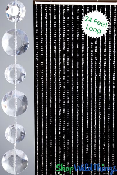 Diamante Duo Beaded Curtain - Crystal Non-Iridescent - 3 ft x 24 ft