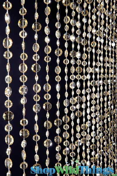 Diamante Duo Beaded Curtain - Champagne Non-Iridescent - 3 ft x 6 ft