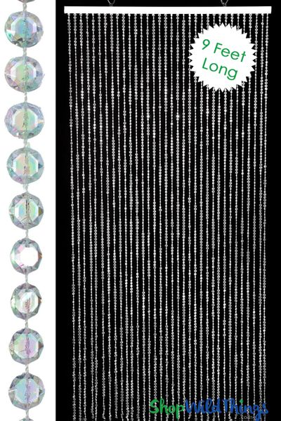 Diamond Crystal Iridescent Beaded Curtain 9 Feet Long