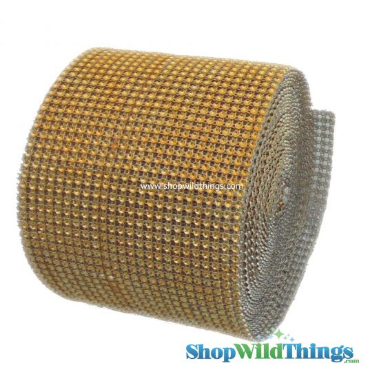 """Diamond Wrap Rolls - Gold - 4.5"""" Wide x 30 ft Long (10 Yards) - Trimmable!"""