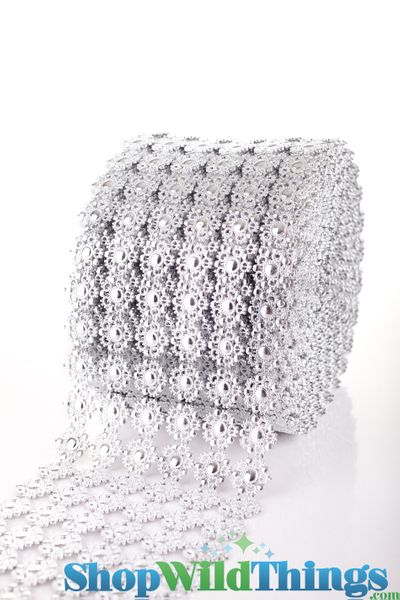 "Diamond Wrap Rolls - Silver Flowers - 4"" Wide x 30 ft Long (10 Yards) - Trimmable!"