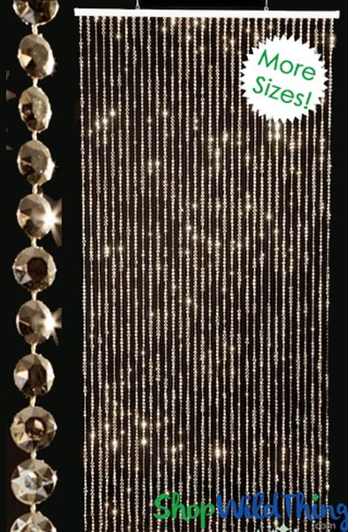 Diamonds Beaded Curtains - Gold (3 Sizes: 6-12 Feet Long)