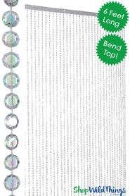 Diamond Beaded Curtains - Bendable Metal Top 6 Feet Long