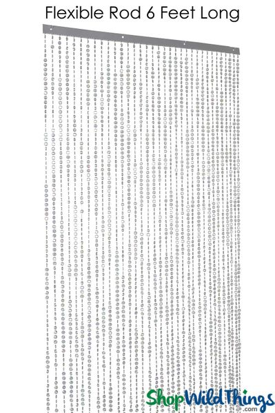 "COMING SOON! Diamonds Beaded Curtain  Bendable Top Smoke Gray Iridescent 35"" x 9'"