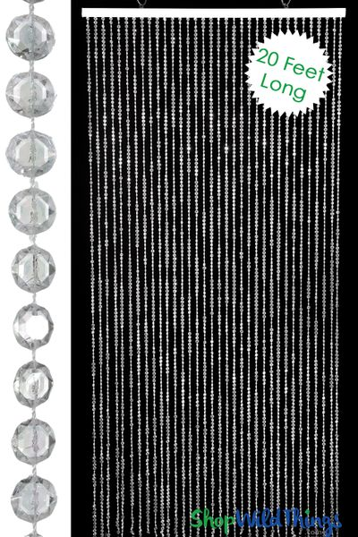 Diamonds Beaded Curtain - Crystal Non-Iridescent - 3 ft x 19 ft 3 inches