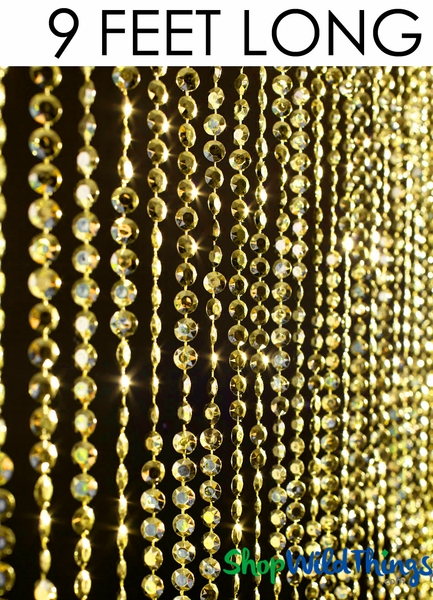 "COMING SOON! Diamonds Beaded Curtain - Yellow Gold - 35 1/2"" x 9'"