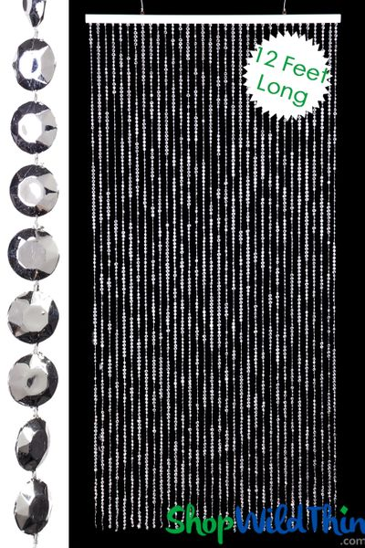 Diamonds Beaded Curtains - Metallic Silver - 3 ft x 12 ft