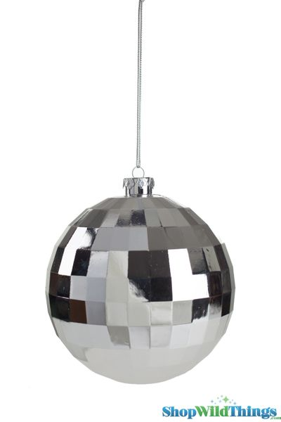 "COMING SOON! Disco Ball Ornament 4.5"" Shiny Silver"