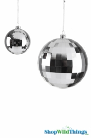 "Disco Ball Ornament 8"" Shiny Silver"