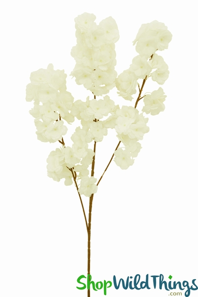 "COMING SOON! Dogwood Blossom Branch -  42"" Long - Bendable - Cream"
