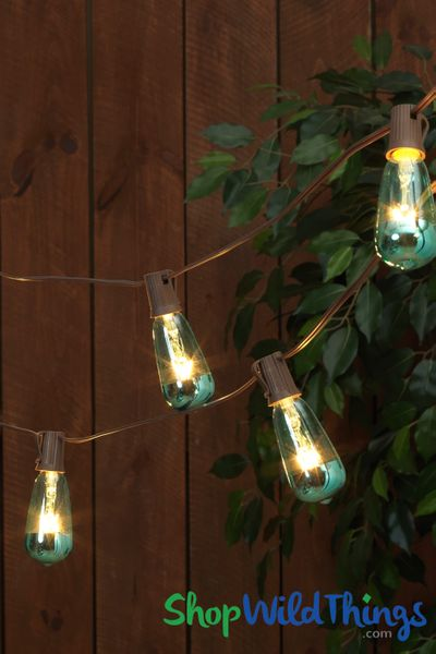 Edison String Lights - Metallic Turquoise Dipped ST40 Bulbs - Indoor/Outdoor 10'
