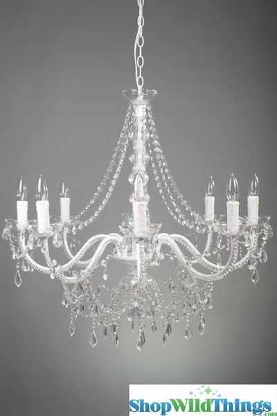 "Chandelier ""Ellena"" White & Crystal - 29"" x 21"" - 8 Lights!"
