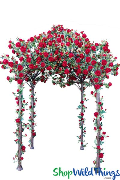 """Enchanted Garden"" Flowering Rose Gazebo � 11' Tall � Red"