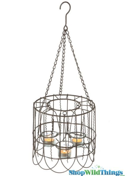 "SALE ! 14"" Caged Wire Candle Holder - Hanging or Tabletop"