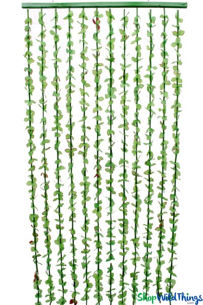 "FabuLush Fabric Flowers Beaded Curtain - 12 Strands! Green Flowers with Red Accents - 35"" x 6'"