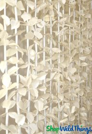 "FabuLush Fabric Flowers Beaded Curtain 14 Strands! Ivory Flowers with Ivory Beads- 35"" x 6'"