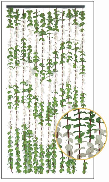 """FabuLush Fabric Flowers�"" Beaded Curtain - Green & Cream - 35 1/4"" x 77"""