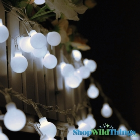 "String Lights - 100 Large Round LED Bulbs -  White ""Fairy Lights"""